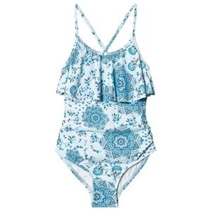 Seafolly Blue Luna Love Ruffle Tank Swimsuit 6 years