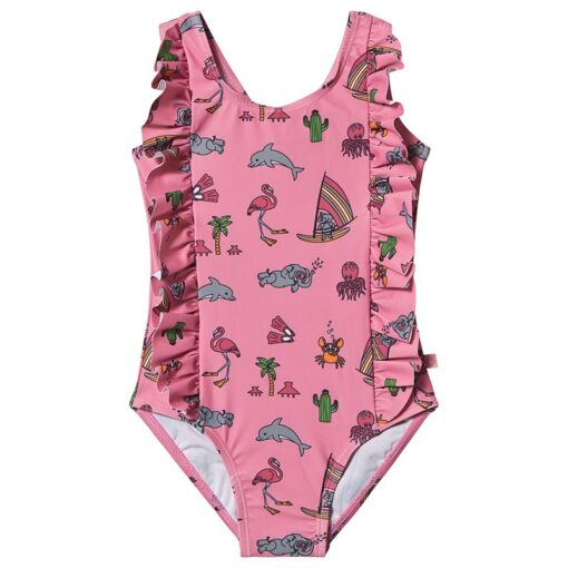 Småfolk Uv50 Baby Swimsuit With Ruffle And Sea World Sea Pink 2-3 år