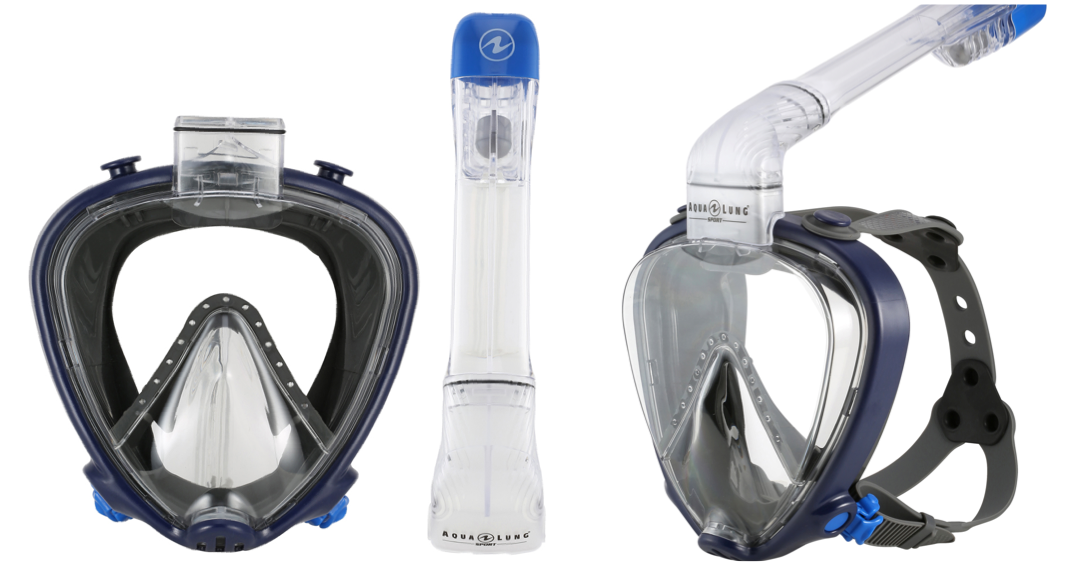 aqua lung helmaske til dykning voksne full face snorkling maske med smart system