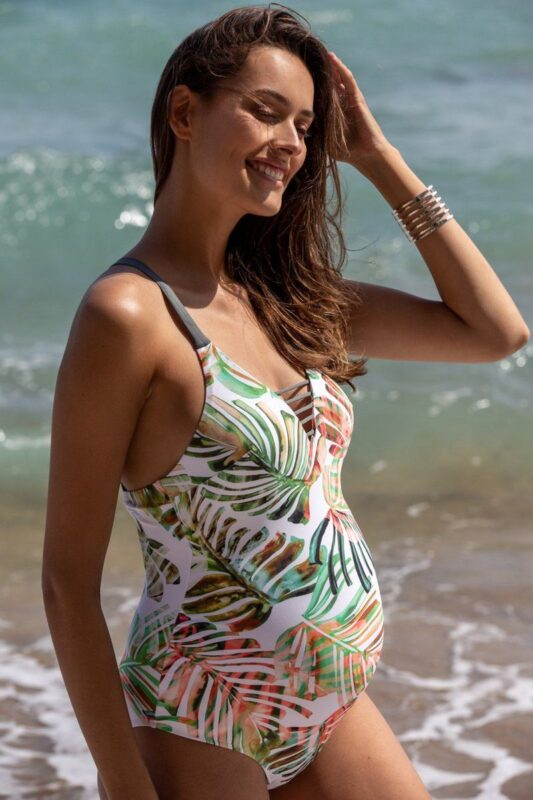 graviditetsbadedragt hvid honolulu badedragt cache coeur palmeprint gravid badedragt dobbelt lag