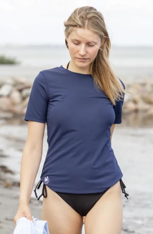 soltrøje petit crabe UV soltrøe UV badetøj UV tankini UV badetøj med korte ærmer til kvinder marineblå bade t-shirt rashguard til kvinder