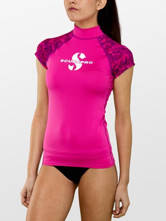 rashguard kvinder kortørmet sup bluse kajaktrøje dame pink sup bluse