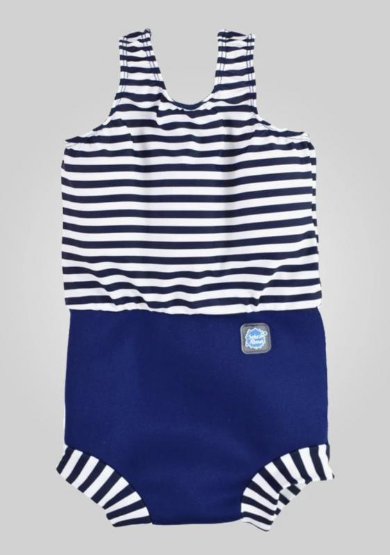 Happy Nappy ble-badedragt - Navy White Stripe blebadedragt blebadetøj baby ble heldragt svømmehal