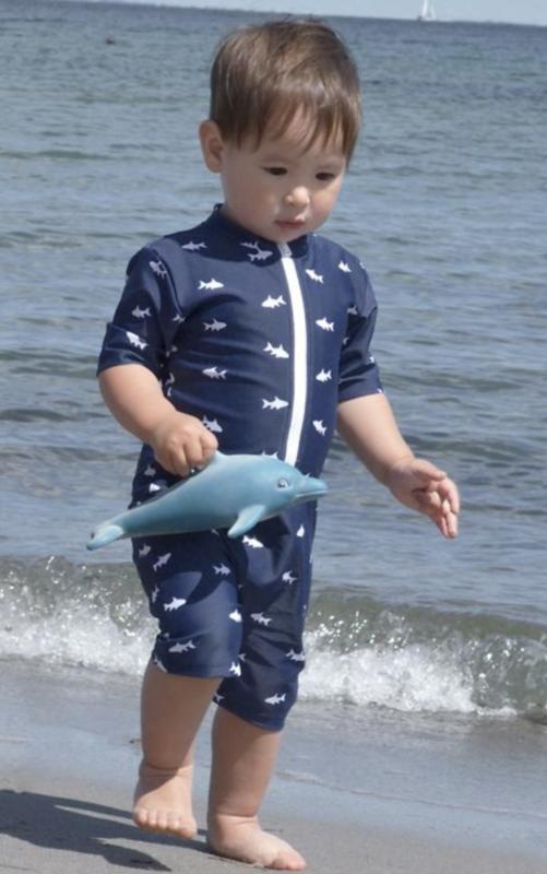 marineblå soldragt til dreng uv dragt med fisk uvdragt med korte ærmer badedragt til dreng soldragt med lynlås